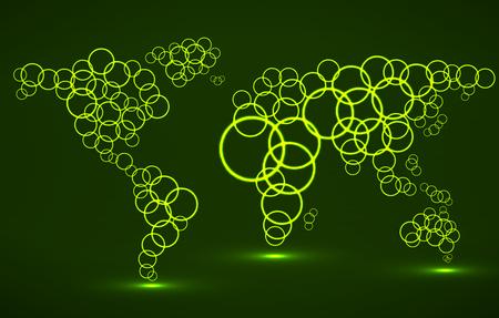 Abstract world map of glowing circles. Vector Illustration