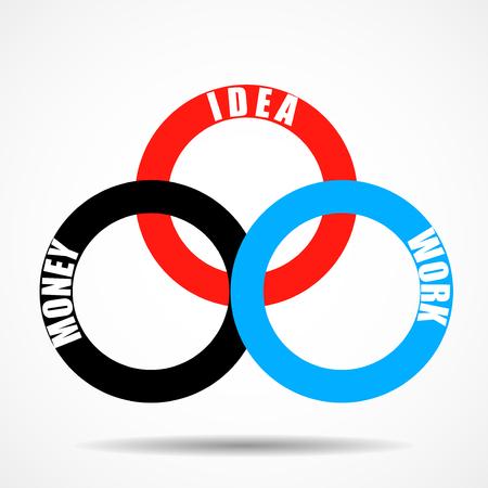 円を含むベクトルインフォグラフィックデザインテンプレート。ベクトル