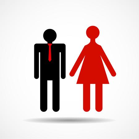 Man and woman sign flat design vector illustration.