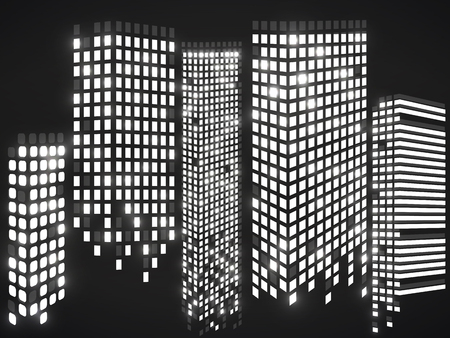 ?ity of skyscrapers. Silhouette of megacity. Vector design