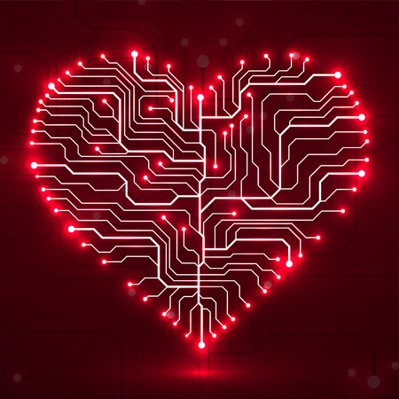 Valentines background with circuit board on heart shape technology illustration.