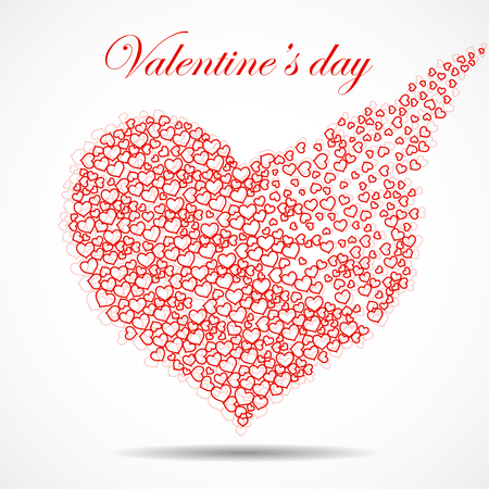 Abstract silhouette heart of little hearts, Valentine's day vector. Vettoriali