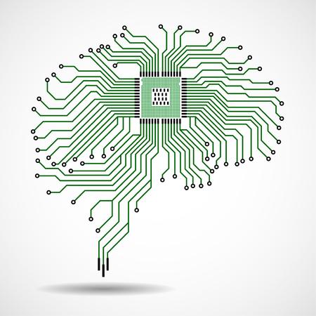 Cervello tecnologico astratto. Processore. Scheda di circuito. Vettore Vettoriali