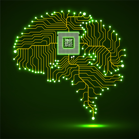 Neon brain. Cpu. Circuit board. Abstract technology background. Vector 版權商用圖片 - 95351282