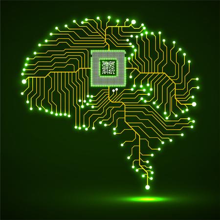 Neonowy mózg. Procesor. Płytka drukowana. Streszczenie tło technologii. Wektor
