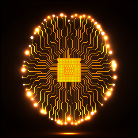 Neon brain. Cpu. Circuit board. Abstract technology background. Vector