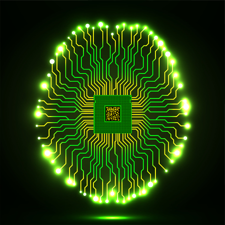 Neon brain. Cpu. Circuit board. Abstract technology background. Vector illustration