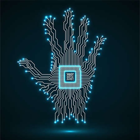 Abstract neon hand. Cpu. Circuit board. Vector illustration.