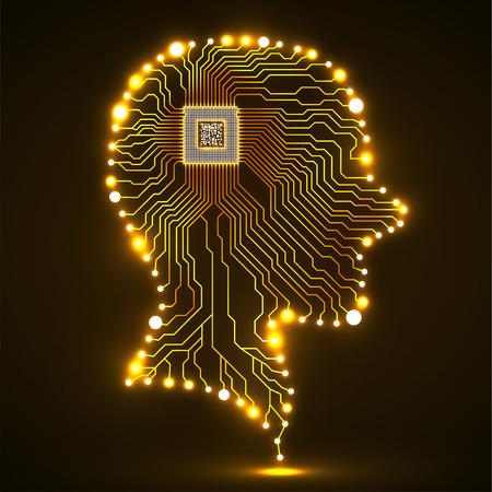 Neon human head, cpu, circuit board, vector illustration