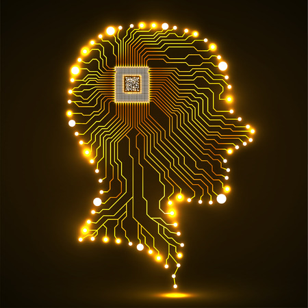 Neon human head, cpu, circuit board, vector illustration