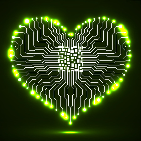 Abstract neon electronic circuit board with cpu in shape of heart, technology background Illustration