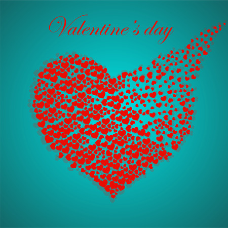 Abstract silhouette heart of little hearts. Valentines day. Vector Illustration