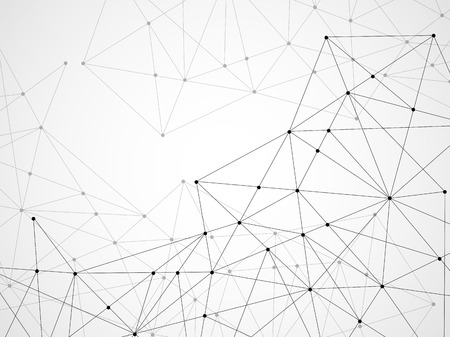Abstract geometric background with connecting dots and lines. Modern technology concept. Polygonal structure Ilustração