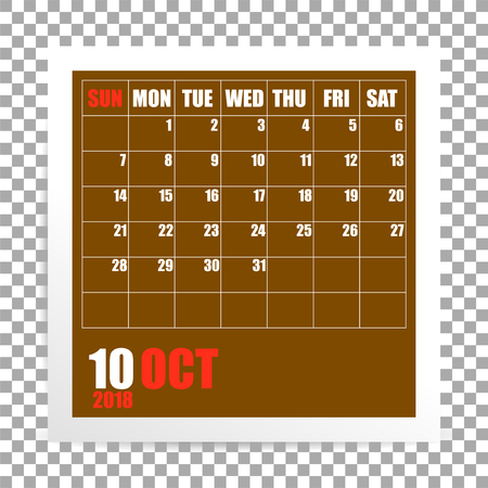 October 2018 calendar photo frame on transparent background. Autumn mounth. Vector