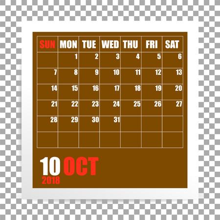 October 2018 calendar photo frame on transparent background. Autumn mounth. Vector