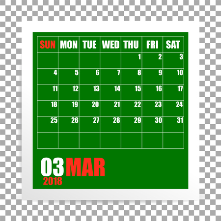 March 2018 calendar photo frame on transparent background. Spring mounth. Vector 일러스트