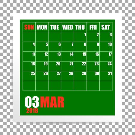 March 2018 calendar photo frame on transparent background. Spring mounth. Vector Ilustração