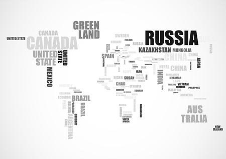 Mapa del mundo hecho de nombres de pases tipogrficos ilustracin typography world map with country names vector illustration gumiabroncs