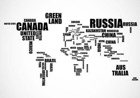 Typography world map with country names. Vector illustration Çizim