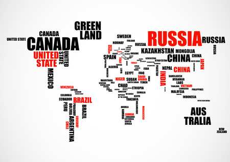 Typography world map with country names. Vector illustration Ilustrace