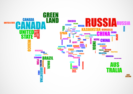 Typography colorful world map with country names. Vector illustration