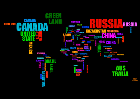 Typography colorful world map with country names vector. Ilustração