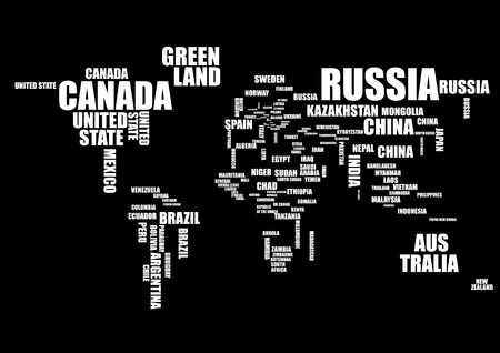 Typography world map with country names in black and white. Vector illustration