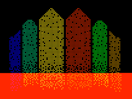 Abstract colorful building of pixels. Silhouette of megacity. Vector Illustration