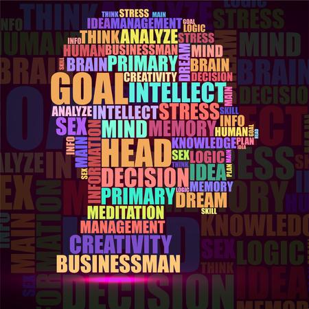 Tête humaine abstraite silhouette colorée de mots