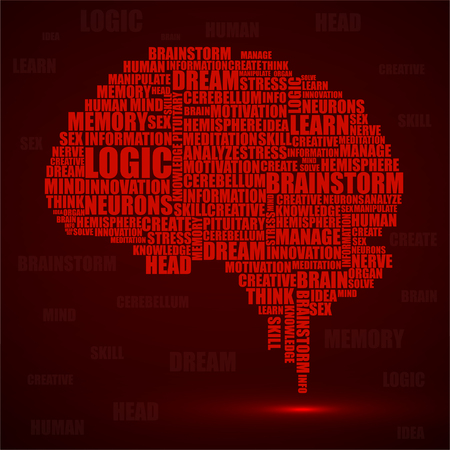 Abstract silhouette human brain of words. Vector illustration. Eps 10