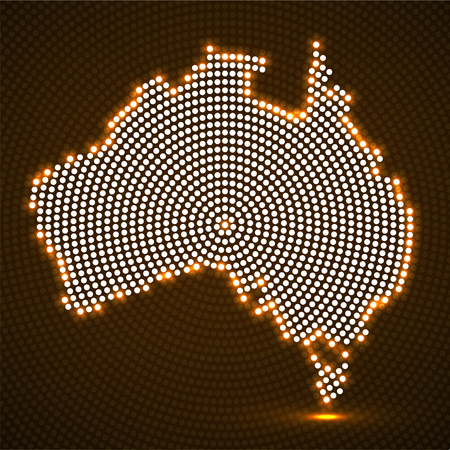 Abstract Australia map of glowing radial dots. Vector illustration