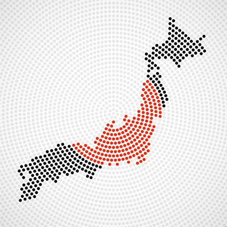 抽象的な日本の放射状ドット、ハーフトーンコンセプトの地図。ベクトル図