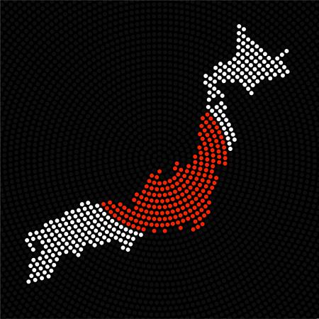 放射状ドットベクトル図の抽象日本地図。