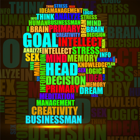 Abstract colorful silhouette human head of words. Vector illustration. Eps 10