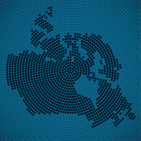 Abstract Canada map of radial dots, halftone concept.