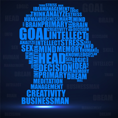 Abstract colorful silhouette human head of words.