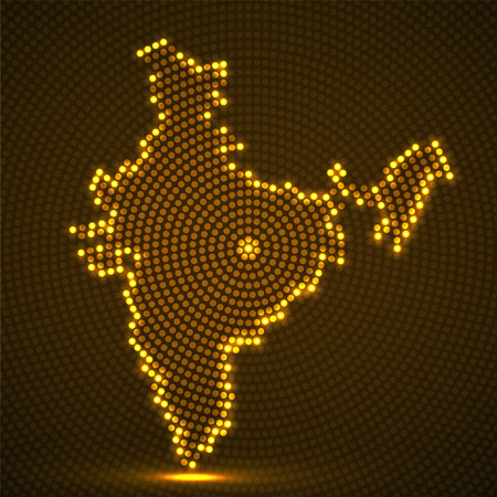 Abstract India mapof glowing radial dots, halftone concept. Vector