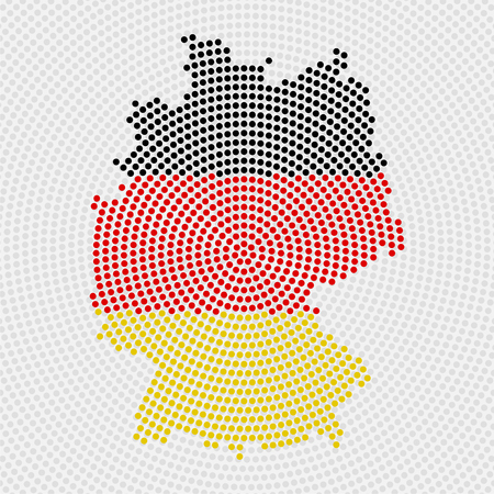 Abstract map Germany of radial dots with flag inside