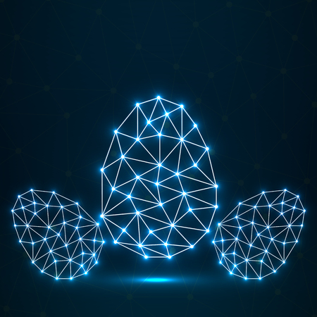Abstract glowing Easter eggs polygonal shape, network connections.