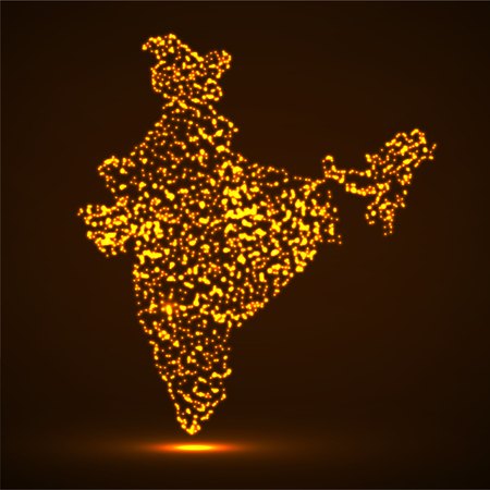 Abstract map of India with glowing particles