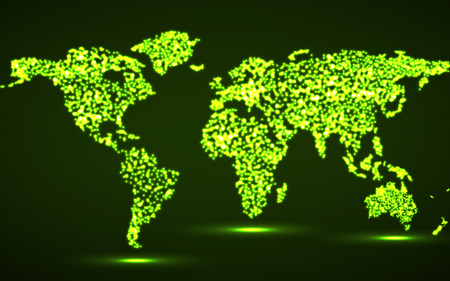 Abstract World map with glowing particles, vector