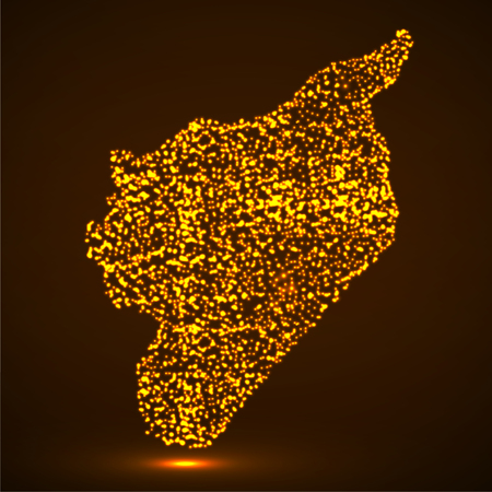Abstract map of Syria with glowing particles
