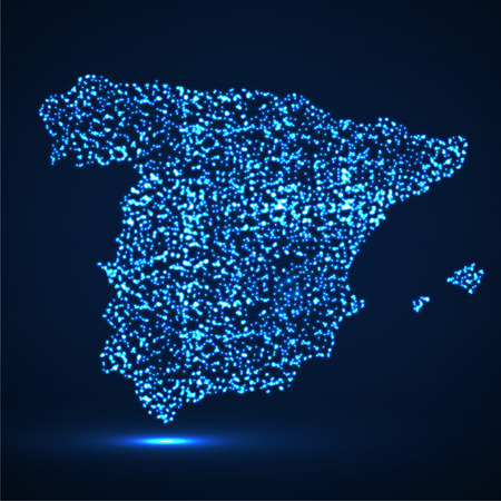 Abstract map of Spain with glowing particles Vectores