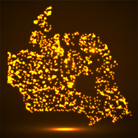 Abstract map of Canada with glowing particles Ilustração