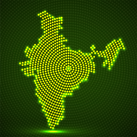Abstract map India of glowing radial dots, halftone concept