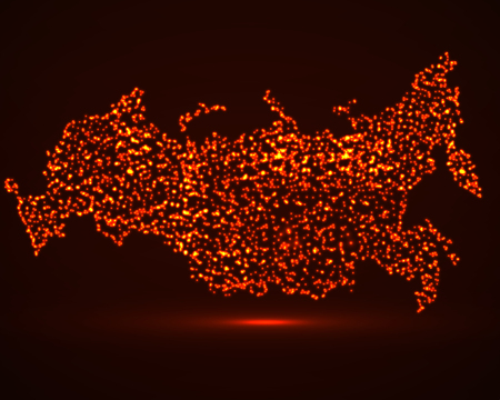 Abstract map of Russia with glowing particles Illustration