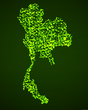 Abstract map of Thailand with glowing particles