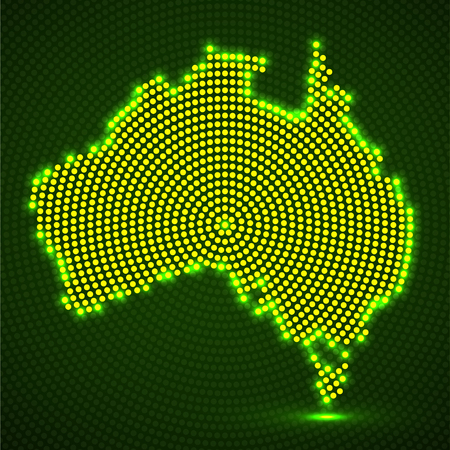 Abstract map Australia of glowing radial dots