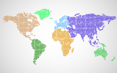 Abstract world map of colorful dots. Vector Illustration