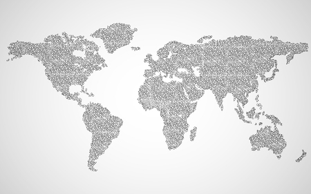 Abstract world map of dots. Vector background Illustration